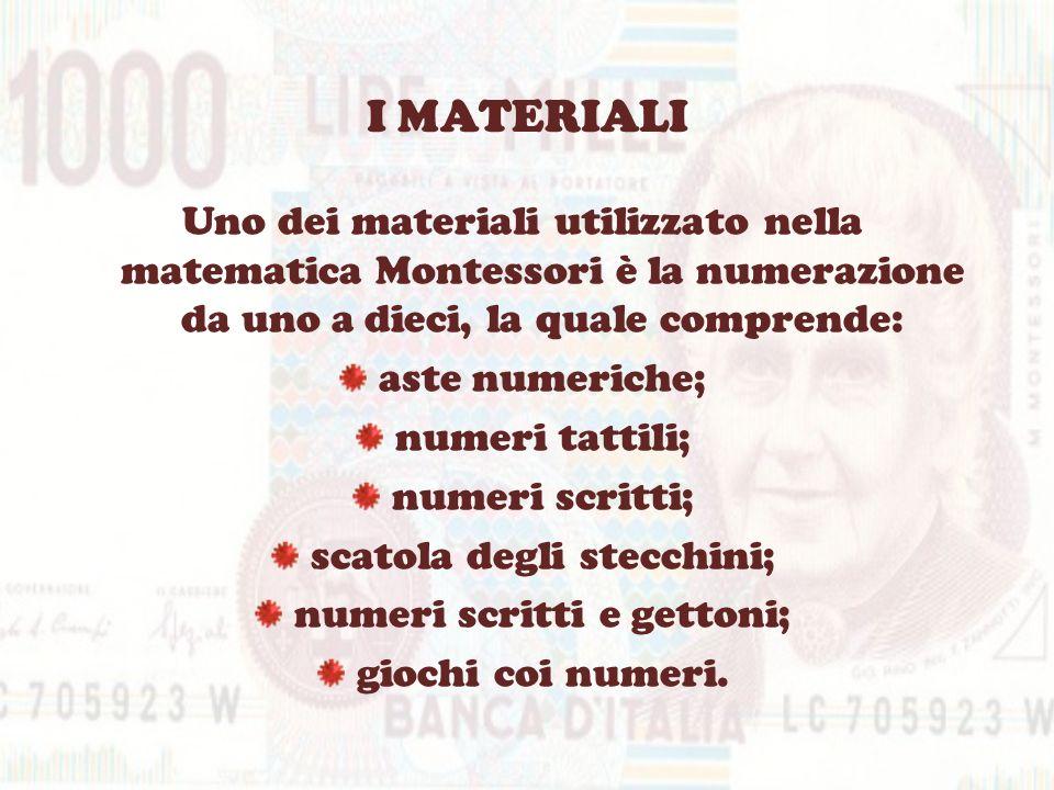 I MATERIALIUno dei materiali utilizzato nella matematica Montessori è la numerazione da uno a dieci, la quale comprende: