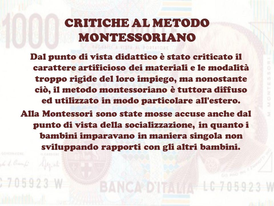 CRITICHE AL METODO MONTESSORIANO