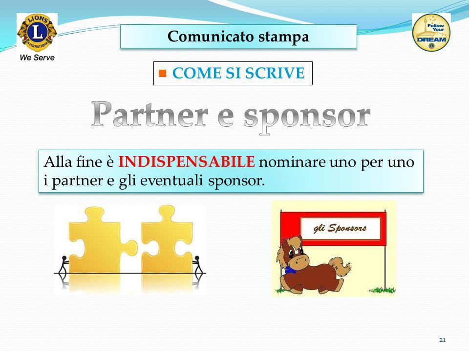 Partner e sponsor Comunicato stampa COME SI SCRIVE