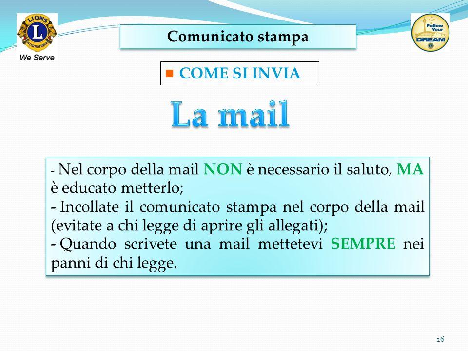 La mail Comunicato stampa COME SI INVIA