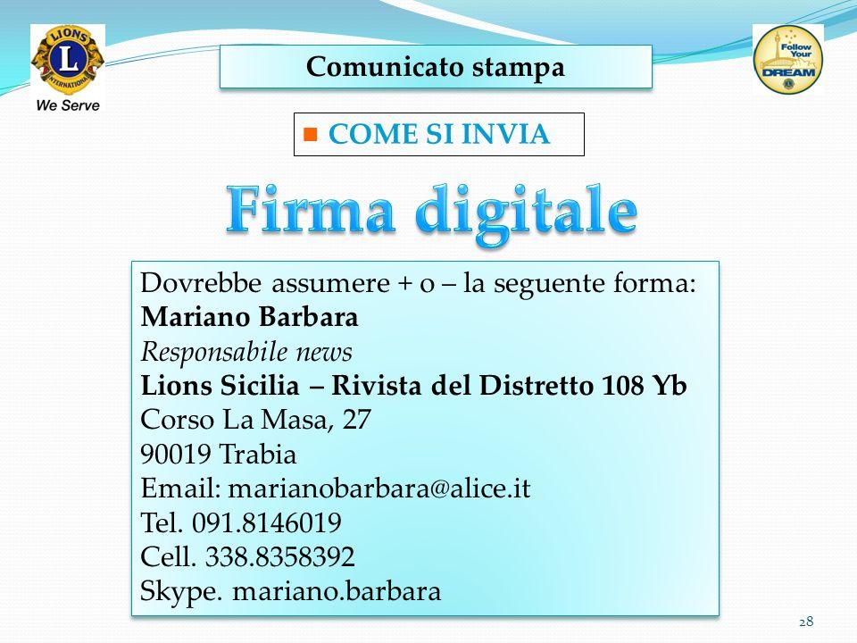 Firma digitale Comunicato stampa COME SI INVIA