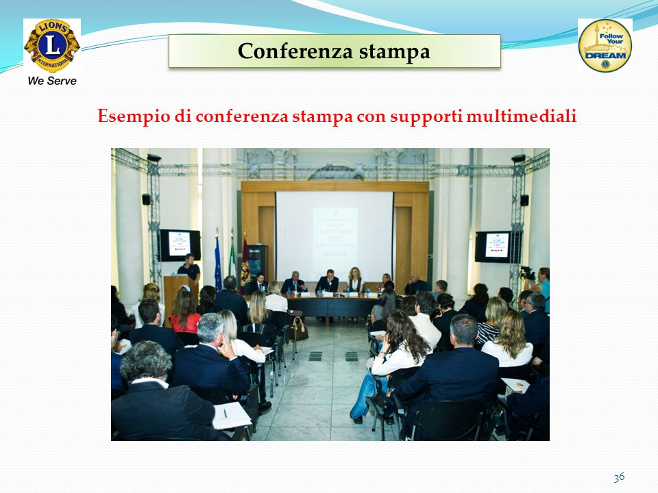 Conferenza stampa Esempio di conferenza stampa con supporti multimediali