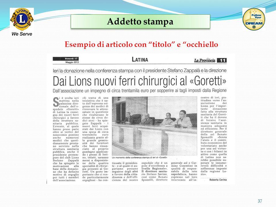 Addetto stampa Esempio di articolo con titolo e occhiello