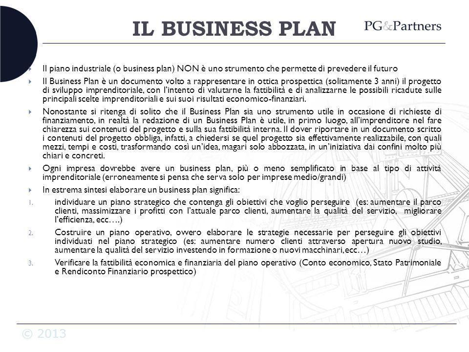 IL BUSINESS PLAN Il piano industriale (o business plan) NON è uno strumento che permette di prevedere il futuro.