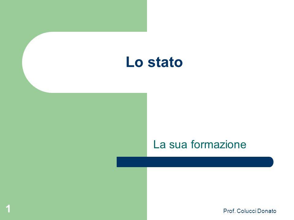 Lo stato La sua formazione Prof. Colucci Donato