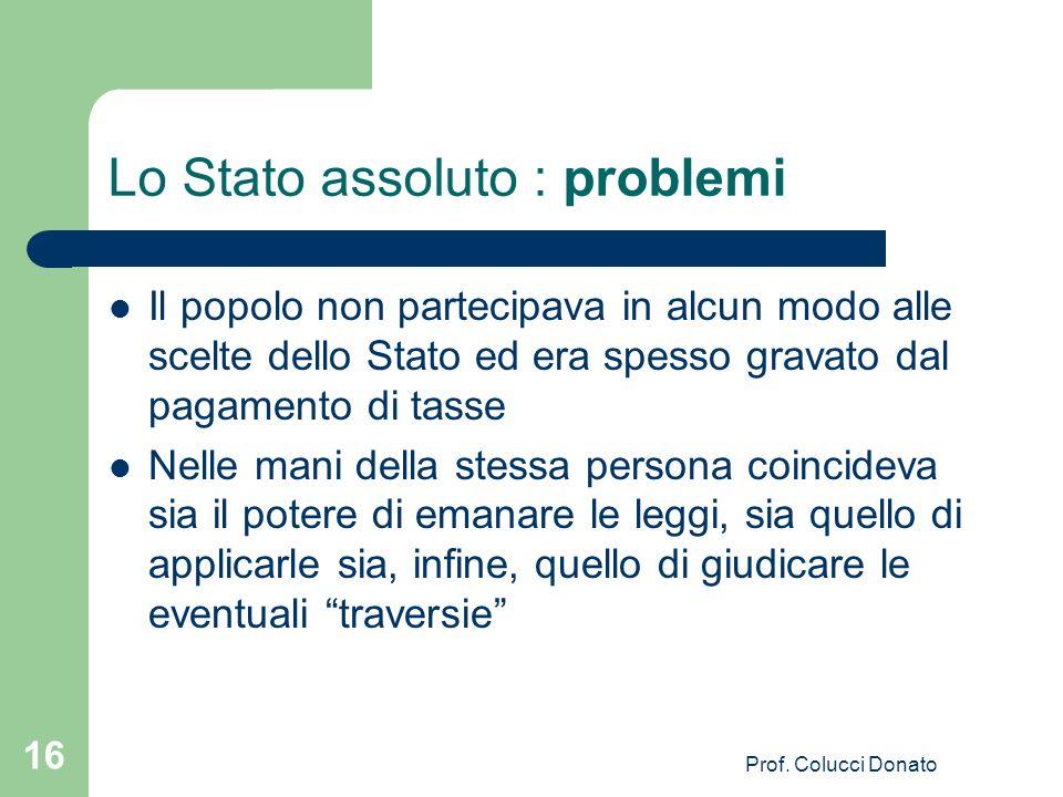 Lo Stato assoluto : problemi