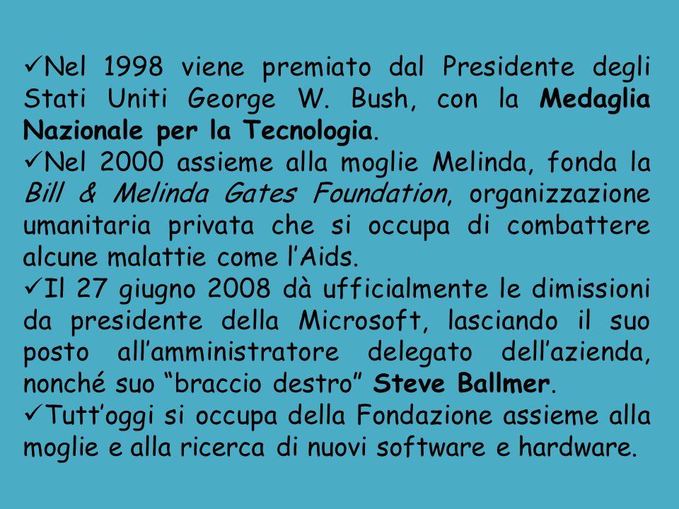 Nel 1998 viene premiato dal Presidente degli Stati Uniti George W