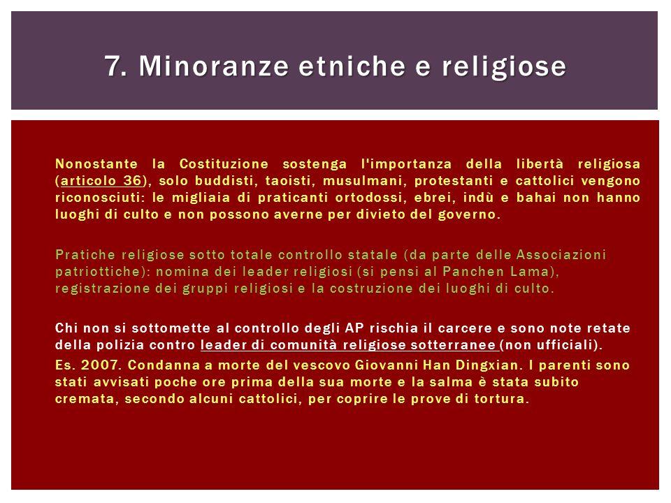 7. Minoranze etniche e religiose