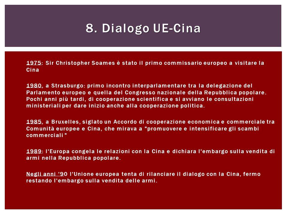 8. Dialogo UE-Cina 1975: Sir Christopher Soames è stato il primo commissario europeo a visitare la Cina.