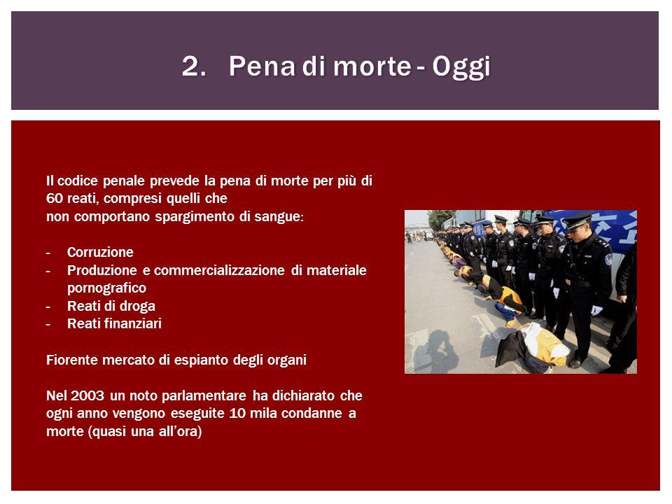 2. Pena di morte - Oggi Il codice penale prevede la pena di morte per più di 60 reati, compresi quelli che.
