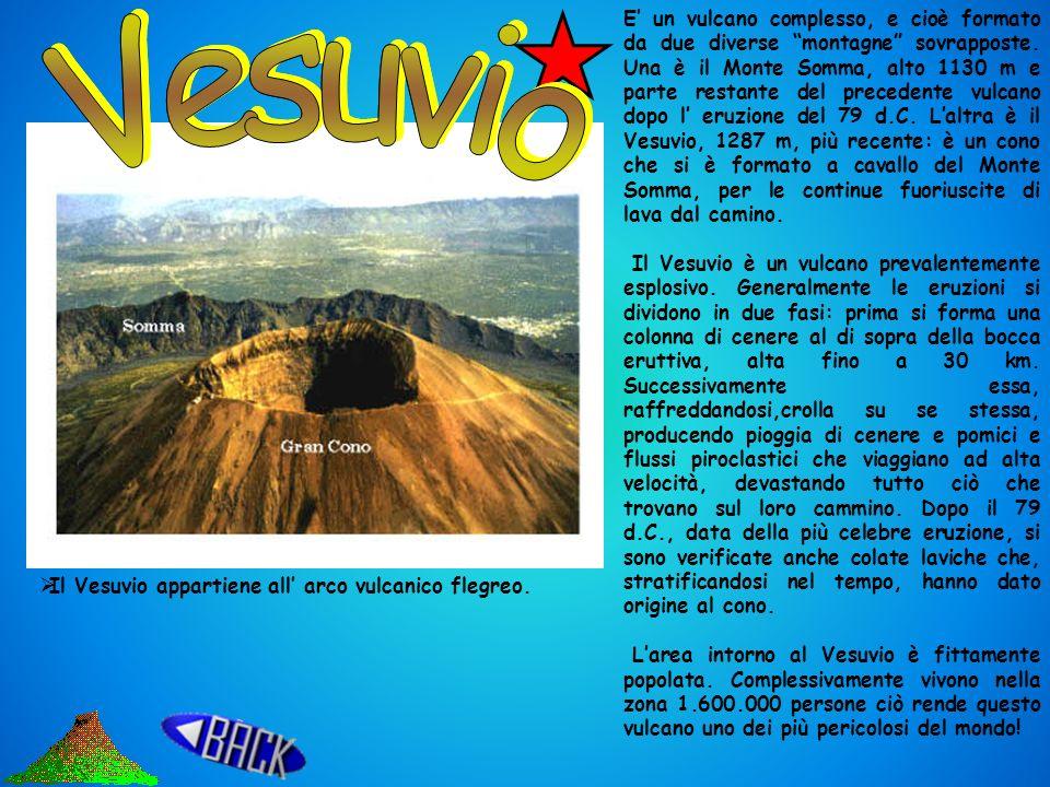 E' un vulcano complesso, e cioè formato da due diverse montagne sovrapposte. Una è il Monte Somma, alto 1130 m e parte restante del precedente vulcano dopo l' eruzione del 79 d.C. L'altra è il Vesuvio, 1287 m, più recente: è un cono che si è formato a cavallo del Monte Somma, per le continue fuoriuscite di lava dal camino.