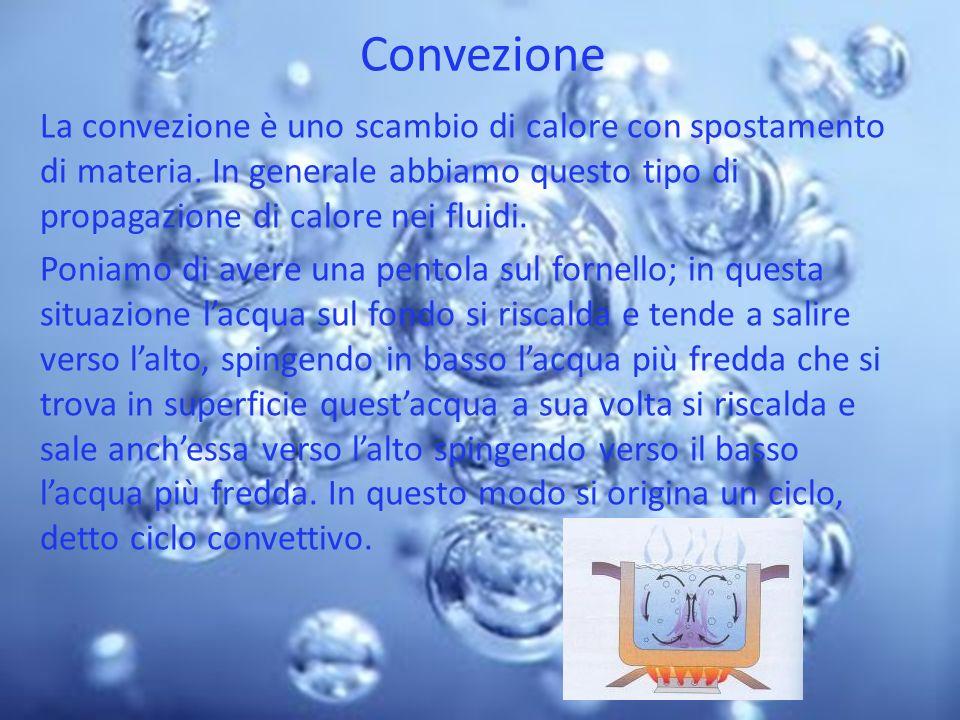 Convezione La convezione è uno scambio di calore con spostamento di materia. In generale abbiamo questo tipo di propagazione di calore nei fluidi.