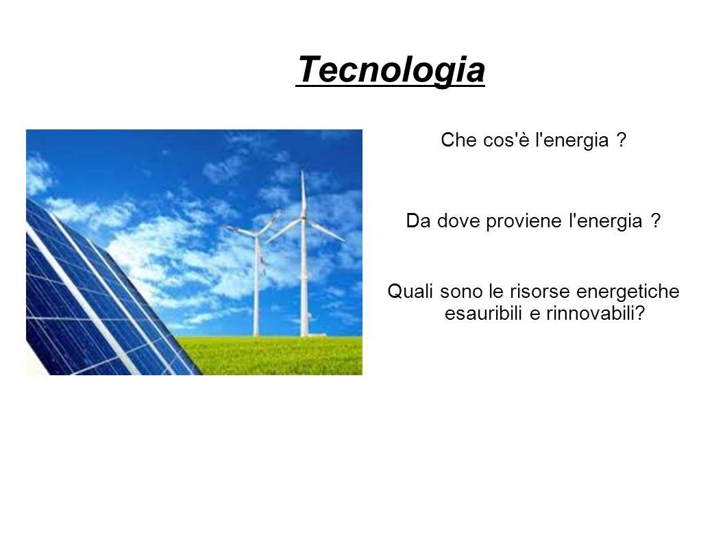 Tecnologia Che cos è l energia Da dove proviene l energia
