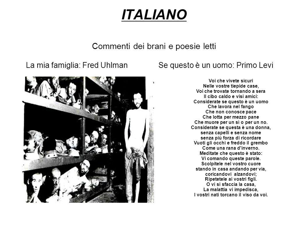 ITALIANO Commenti dei brani e poesie letti
