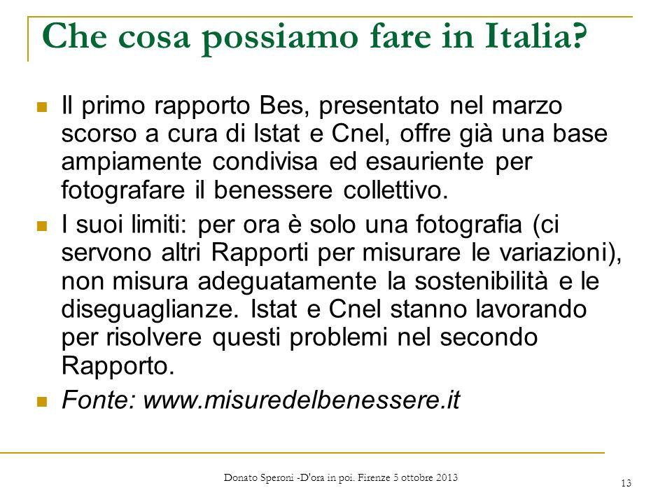 Che cosa possiamo fare in Italia