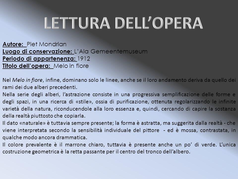 LETTURA DELL'OPERA Autore: Piet Mondrian