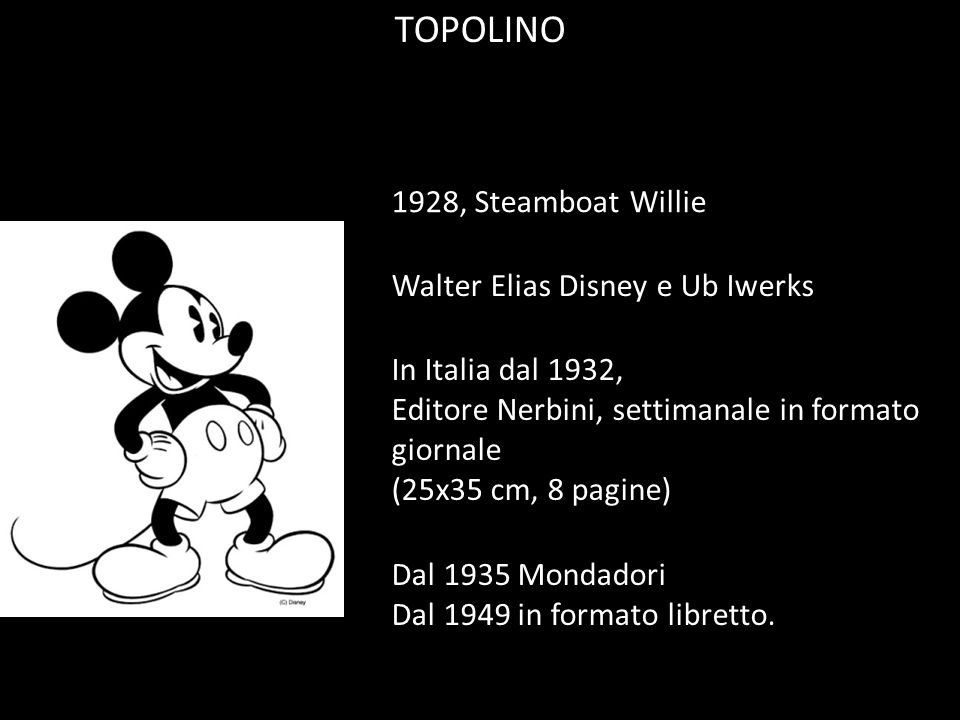 TOPOLINO 1928, Steamboat Willie Walter Elias Disney e Ub Iwerks