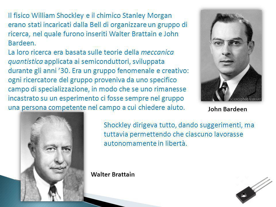 Il fisico William Shockley e il chimico Stanley Morgan erano stati incaricati dalla Bell di organizzare un gruppo di ricerca, nel quale furono inseriti Walter Brattain e John Bardeen.
