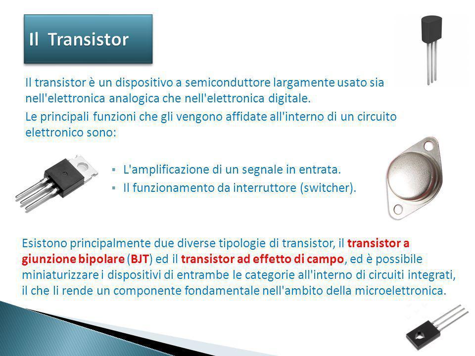 Il Transistor Il transistor è un dispositivo a semiconduttore largamente usato sia nell elettronica analogica che nell elettronica digitale.