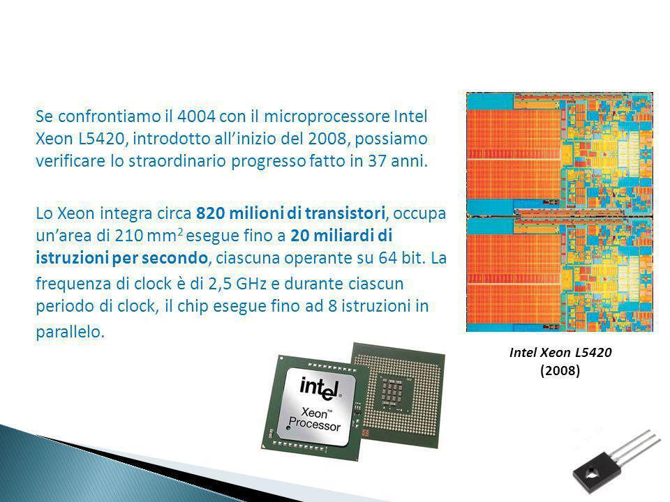 Se confrontiamo il 4004 con il microprocessore Intel Xeon L5420, introdotto all'inizio del 2008, possiamo verificare lo straordinario progresso fatto in 37 anni. Lo Xeon integra circa 820 milioni di transistori, occupa un'area di 210 mm2 esegue fino a 20 miliardi di istruzioni per secondo, ciascuna operante su 64 bit. La frequenza di clock è di 2,5 GHz e durante ciascun periodo di clock, il chip esegue fino ad 8 istruzioni in parallelo.
