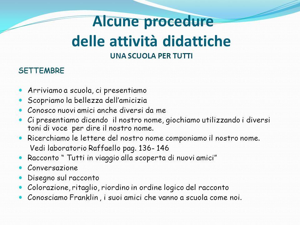 Alcune procedure delle attività didattiche UNA SCUOLA PER TUTTI