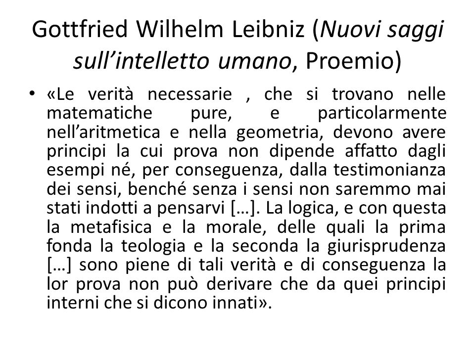 Gottfried Wilhelm Leibniz (Nuovi saggi sull'intelletto umano, Proemio)