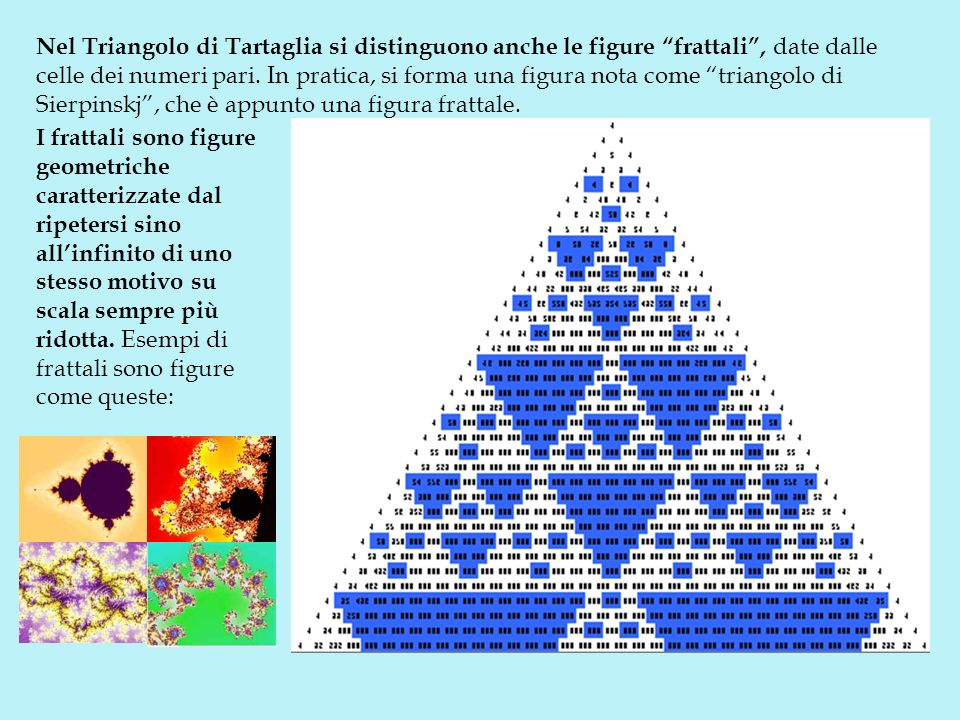 Nel Triangolo di Tartaglia si distinguono anche le figure frattali , date dalle celle dei numeri pari. In pratica, si forma una figura nota come triangolo di Sierpinskj , che è appunto una figura frattale.