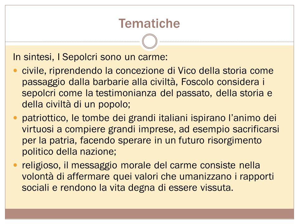 Tematiche In sintesi, I Sepolcri sono un carme: