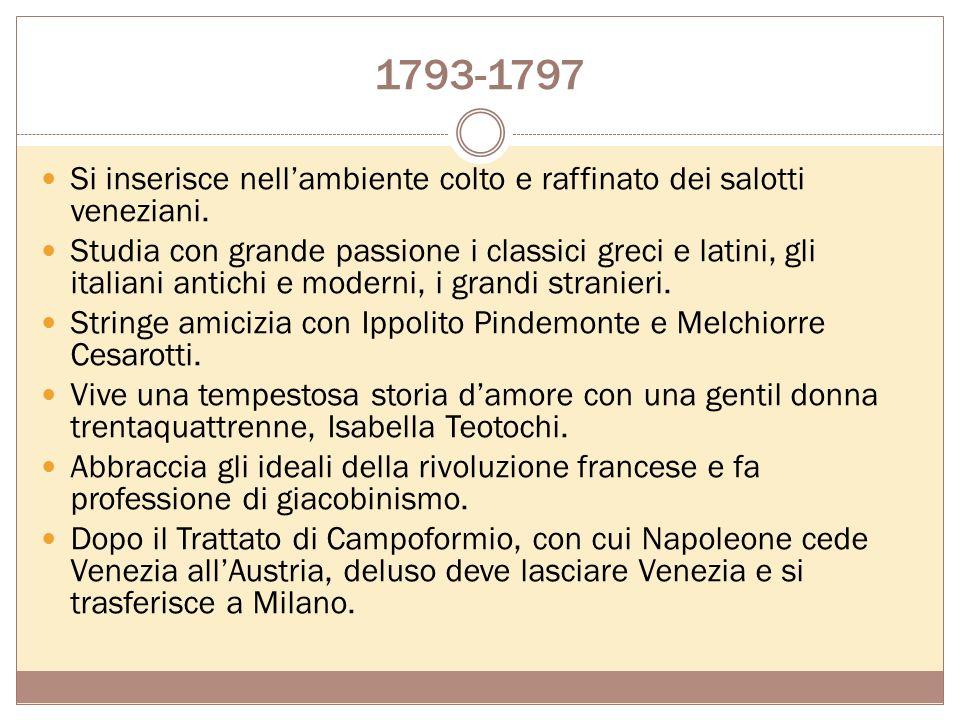1793-1797 Si inserisce nell'ambiente colto e raffinato dei salotti veneziani.