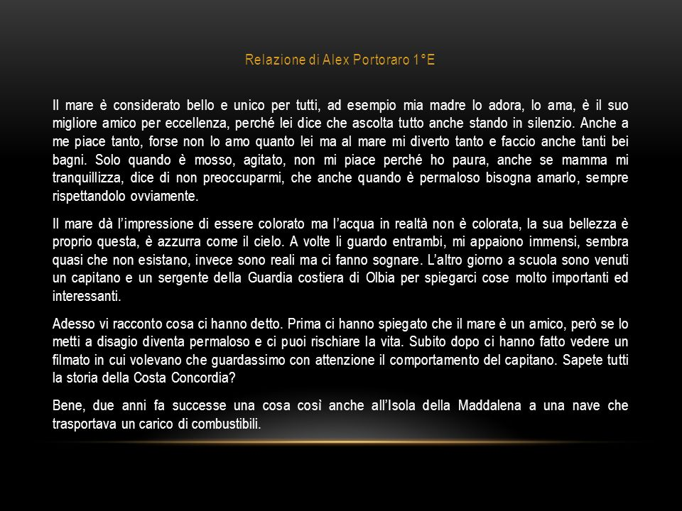 Relazione di Alex Portoraro 1°E