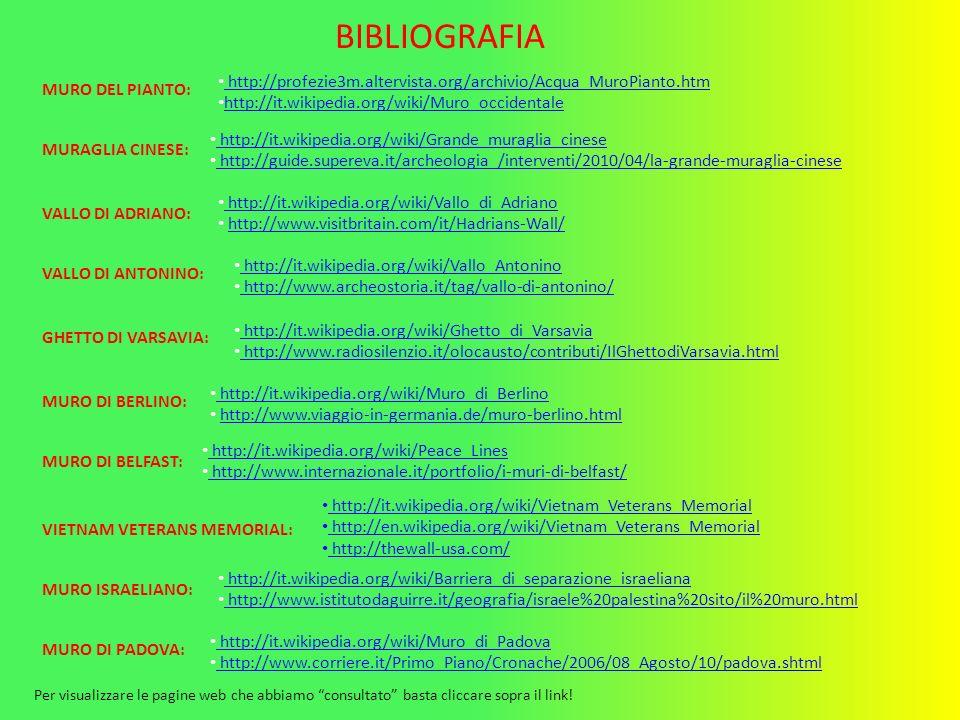 BIBLIOGRAFIA http://profezie3m.altervista.org/archivio/Acqua_MuroPianto.htm. http://it.wikipedia.org/wiki/Muro_occidentale.