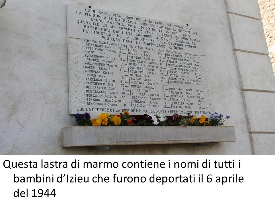 Questa lastra di marmo contiene i nomi di tutti i bambini d'Izieu che furono deportati il 6 aprile del 1944