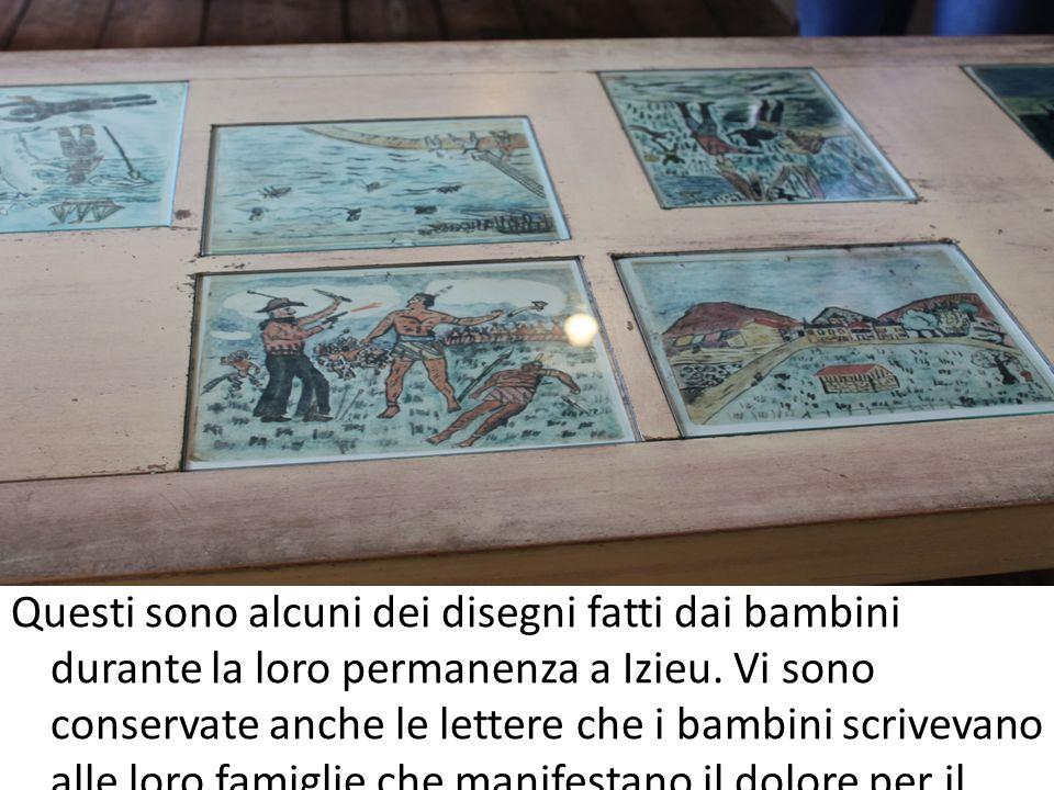Questi sono alcuni dei disegni fatti dai bambini durante la loro permanenza a Izieu.