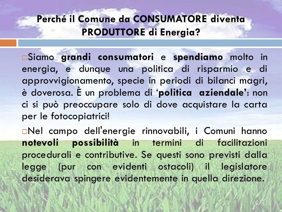 Perché il Comune da CONSUMATORE diventa PRODUTTORE di Energia