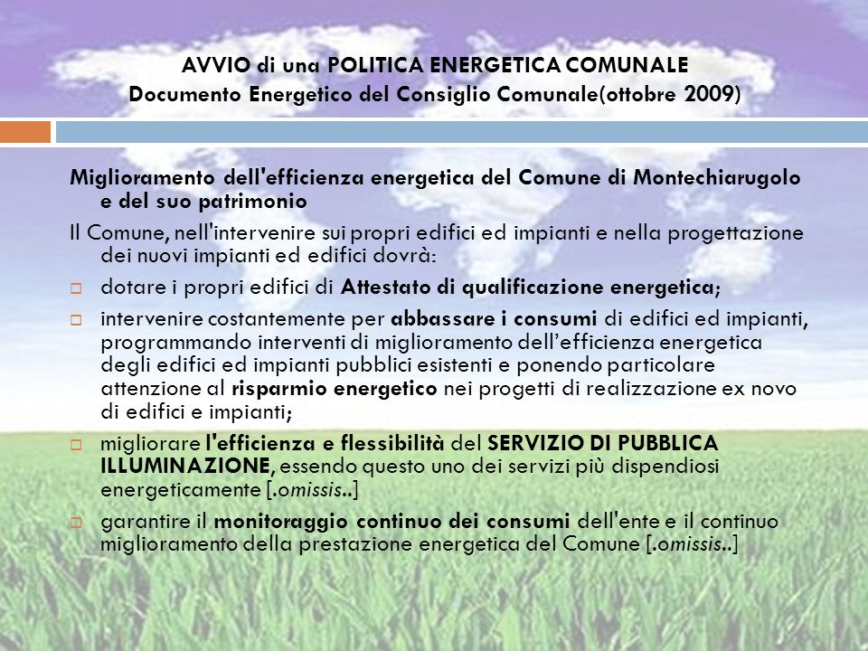 AVVIO di una POLITICA ENERGETICA COMUNALE Documento Energetico del Consiglio Comunale(ottobre 2009)