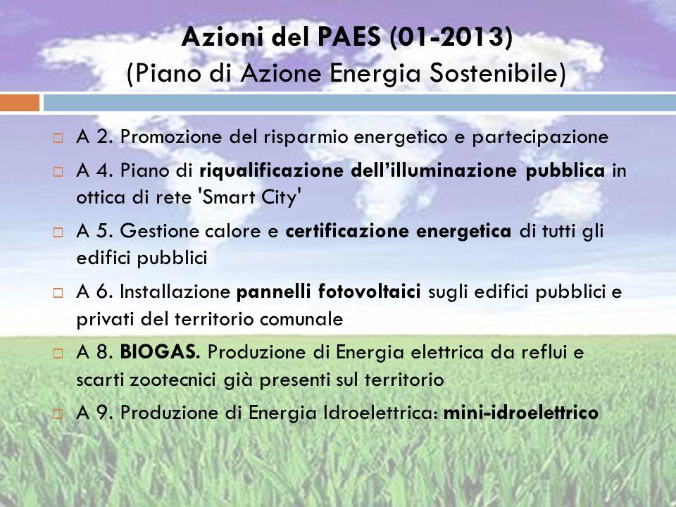 Azioni del PAES (01-2013) (Piano di Azione Energia Sostenibile)