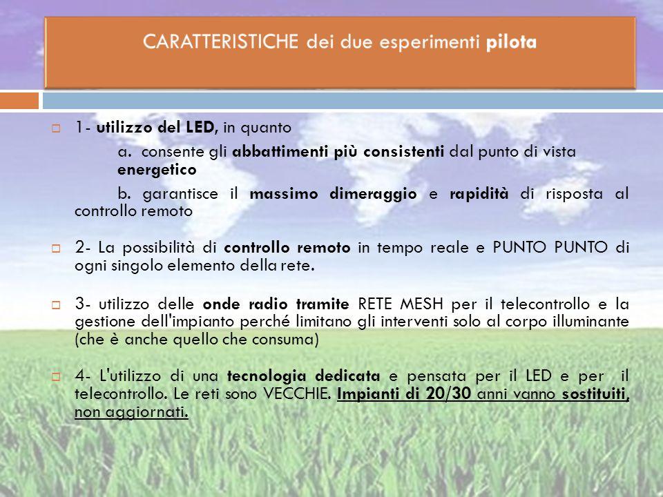 CARATTERISTICHE dei due esperimenti pilota