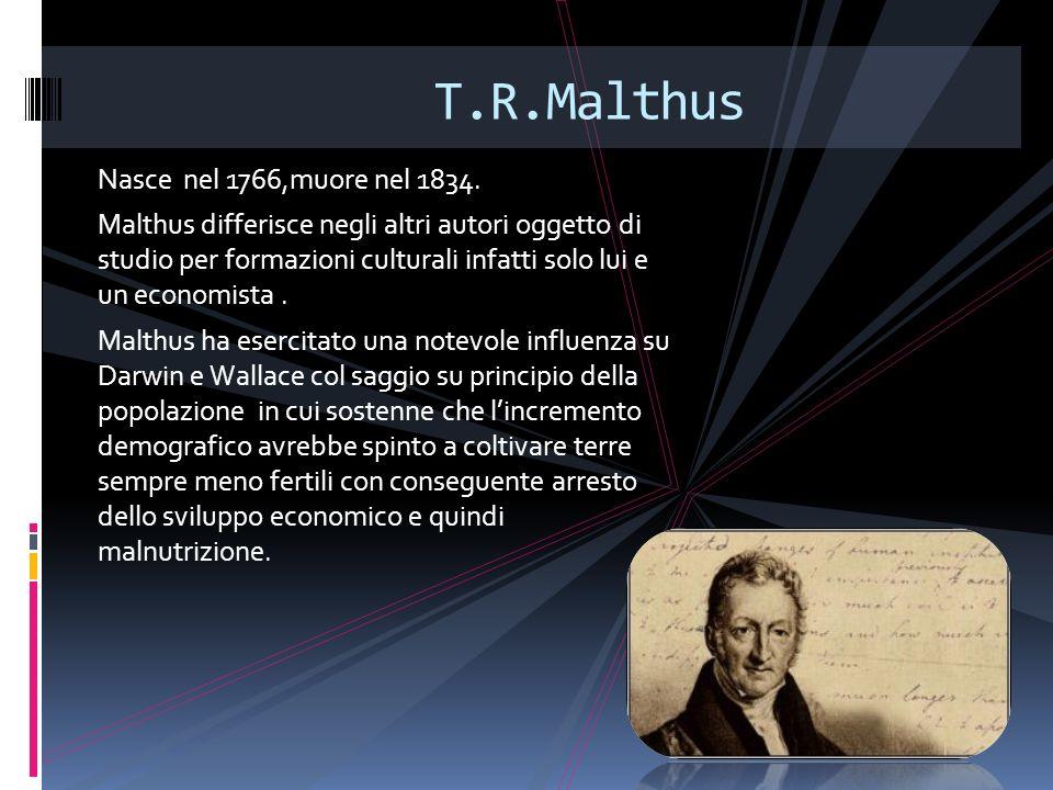 T.R.Malthus Nasce nel 1766,muore nel 1834.