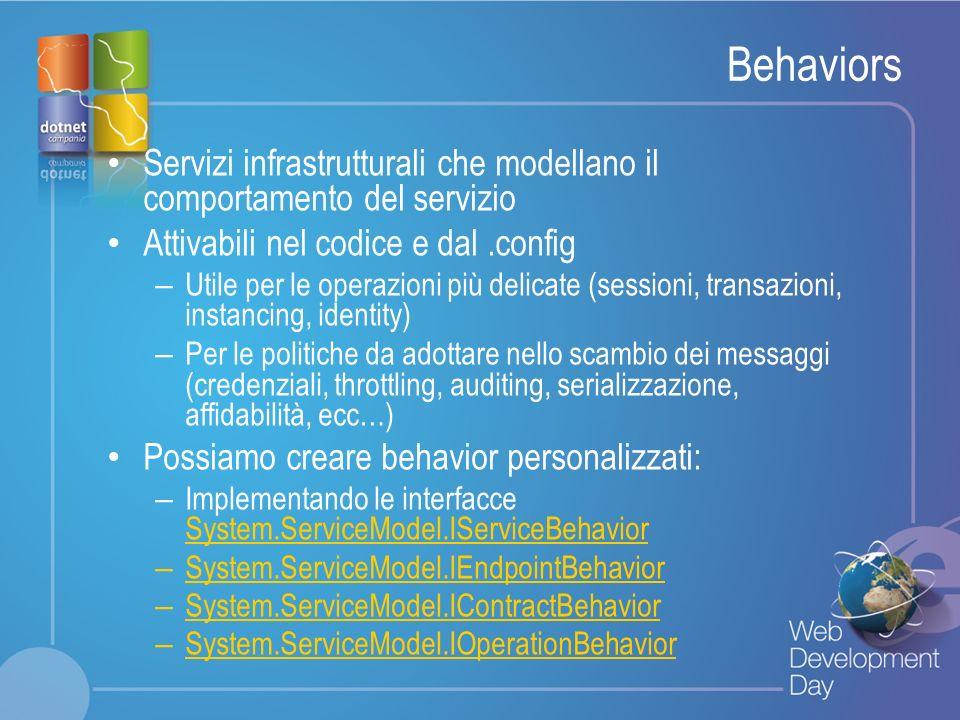 Behaviors Servizi infrastrutturali che modellano il comportamento del servizio. Attivabili nel codice e dal .config.