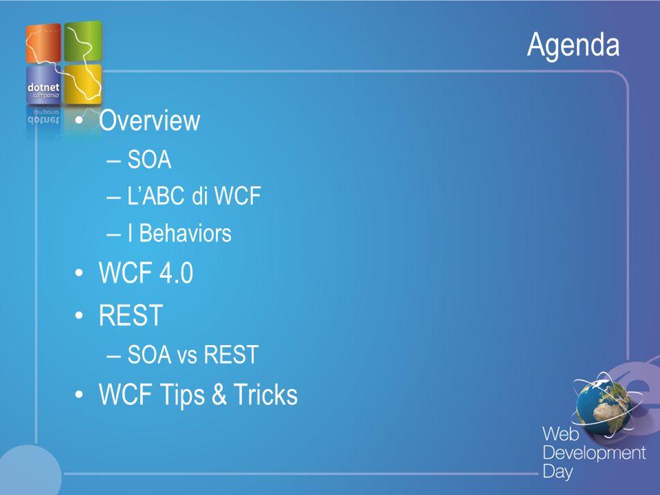 Agenda Overview WCF 4.0 REST WCF Tips & Tricks SOA L'ABC di WCF