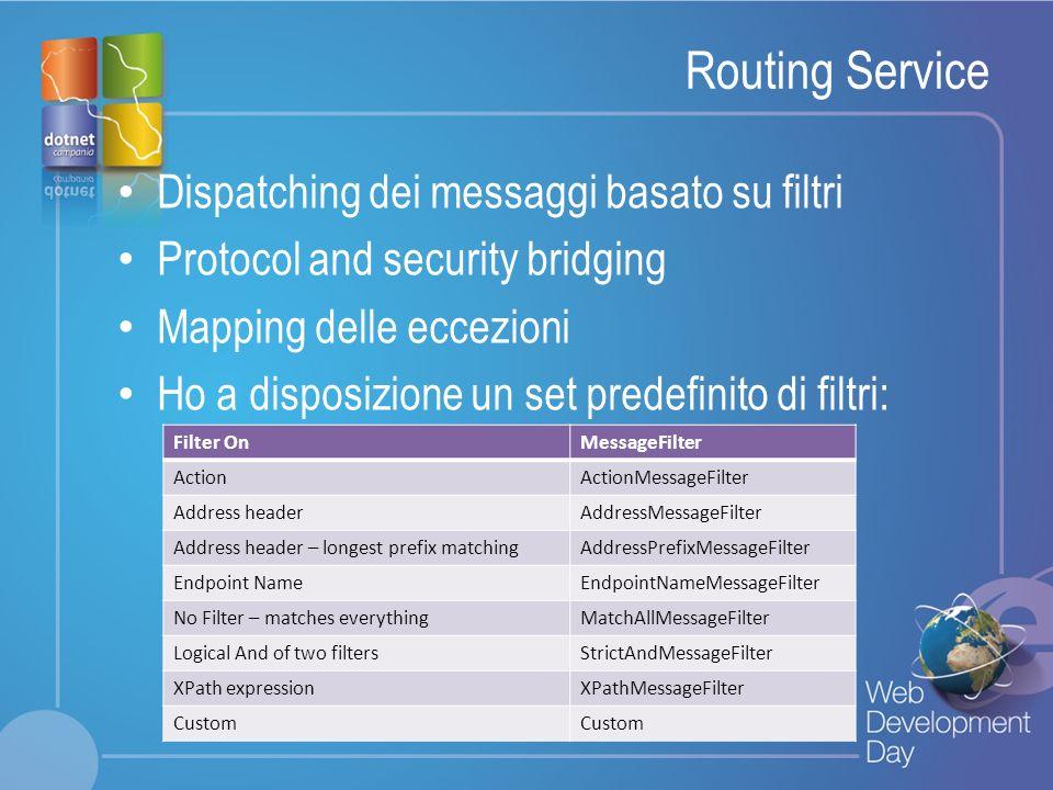 Routing Service Dispatching dei messaggi basato su filtri
