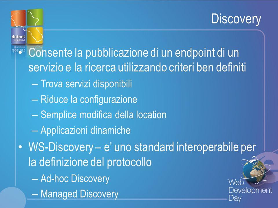 Discovery Consente la pubblicazione di un endpoint di un servizio e la ricerca utilizzando criteri ben definiti.