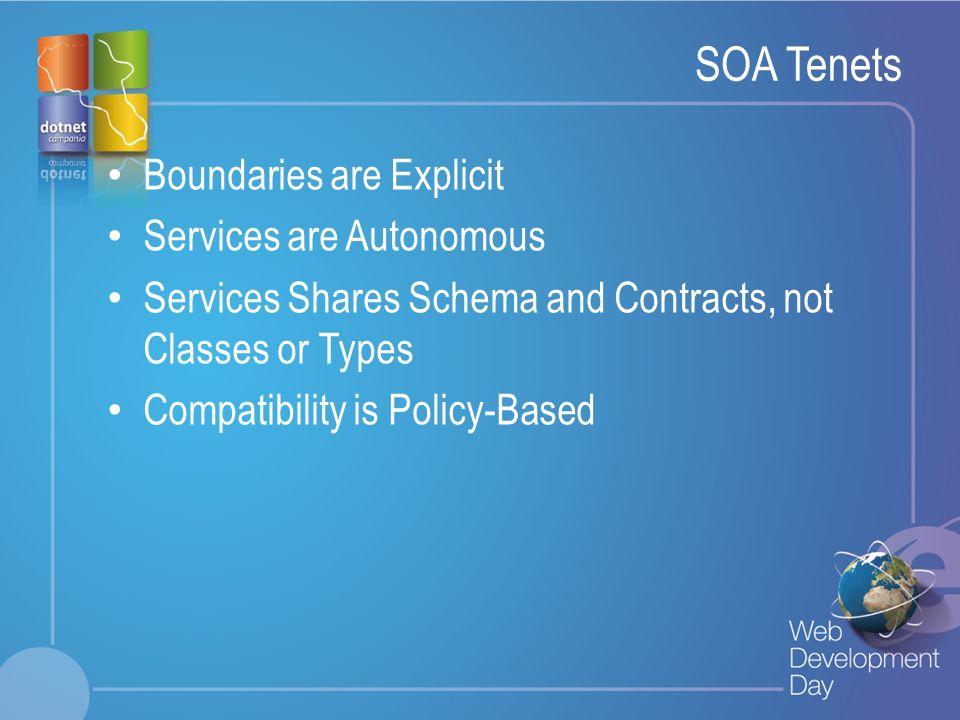 SOA Tenets Boundaries are Explicit Services are Autonomous