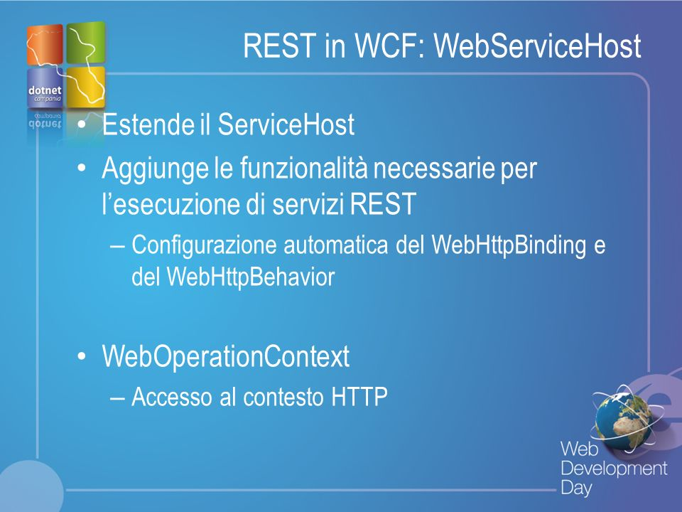 REST in WCF: WebServiceHost