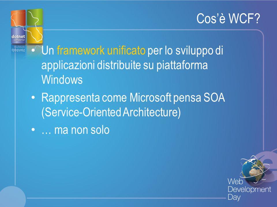Cos'è WCF Un framework unificato per lo sviluppo di applicazioni distribuite su piattaforma Windows.