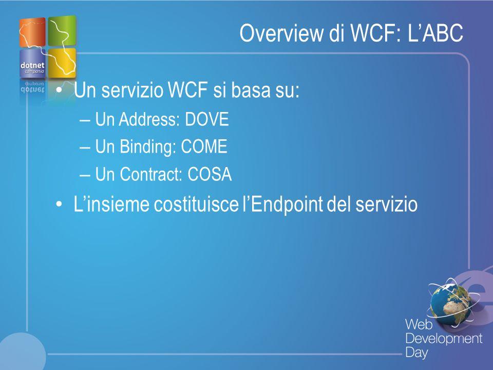 Overview di WCF: L'ABC Un servizio WCF si basa su: