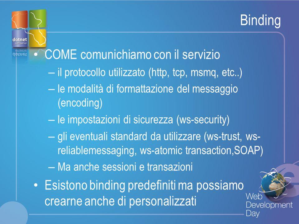 Binding COME comunichiamo con il servizio