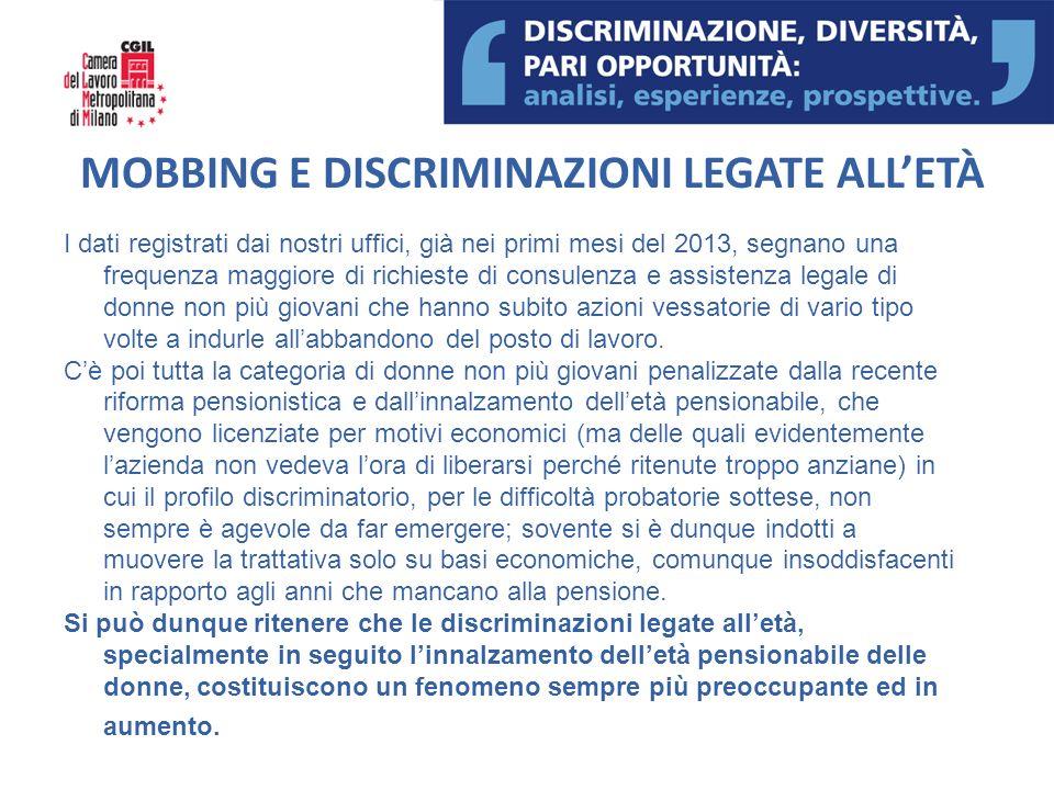 MOBBING E DISCRIMINAZIONI LEGATE ALL'ETÀ