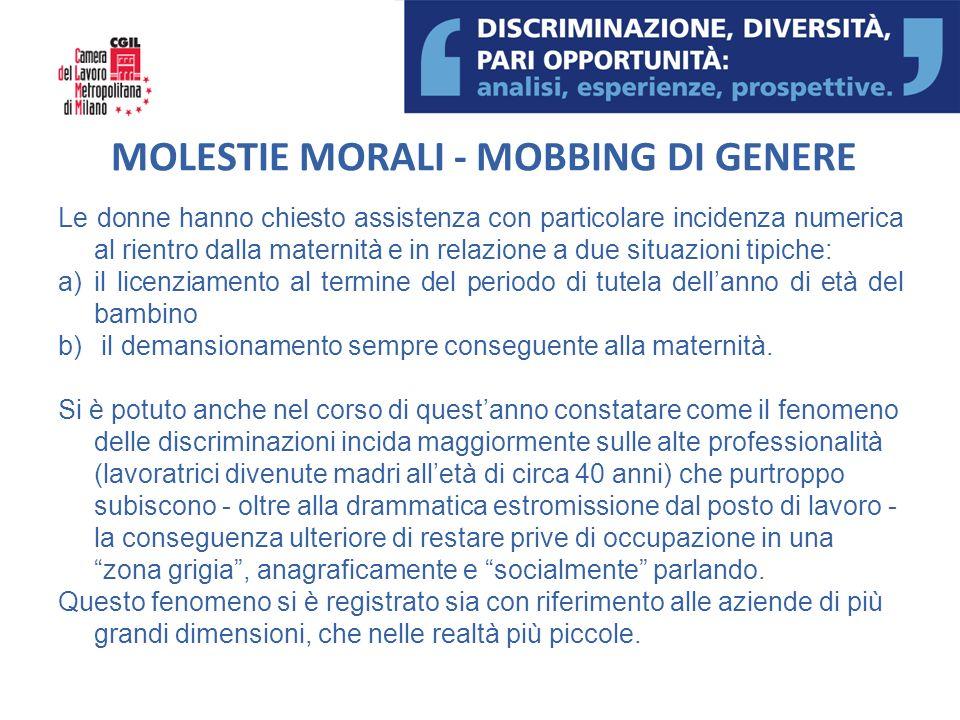 MOLESTIE MORALI - MOBBING DI GENERE