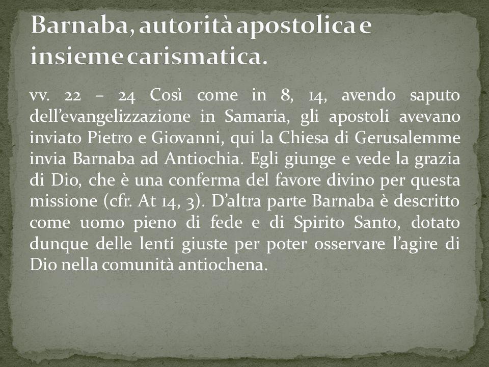 Barnaba, autorità apostolica e insieme carismatica.